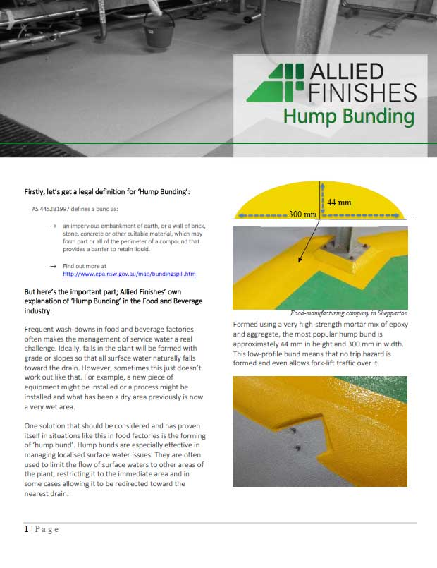 Hump Bunding Document | Allied Finishes, Commercial Flooring Solutions